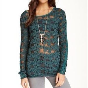 Free People Floral Lace Sheer Knit Top Turquoise